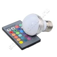 Лампа светодиодная цветная RGB с пультом ДУ E27 7W